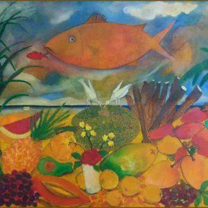 Peixe e pássaros acrílica s/ tela - 0.95 x 1.05m