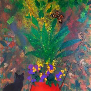 Jarro com gato acrílica s/ tela - 0.73 x 0.53m